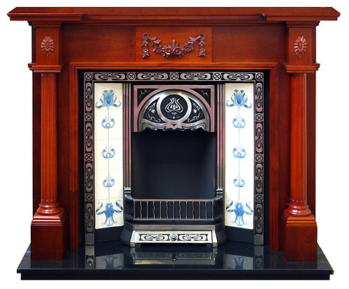 Full Pillar Mahogany fire surround