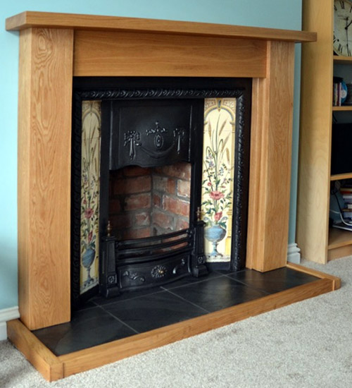 Solid oak fireplace