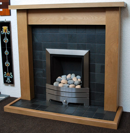 Black slate fireplace