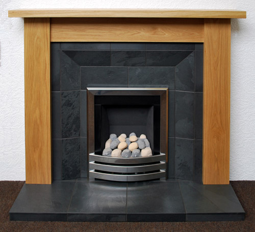 Black slate shaped fireplac