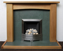Green slate hearth and back panel