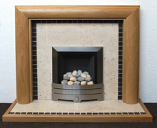 Limestone hearth and back panel
