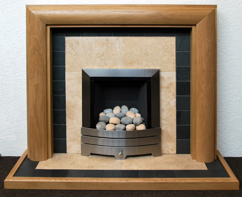 Travertine fireplace 500