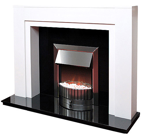 The boxster white fireplace prestige fireplaces nottingham - Black and white fireplace ...