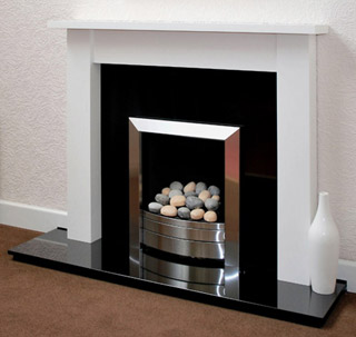 White fire surround for gas or electric fires