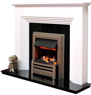 White fire surround with electric fire