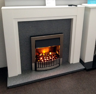 The boxster white fireplace prestige fireplaces nottingham for White marble fire surround